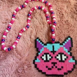 Jewelry - Kandi perler necklace O.F cat